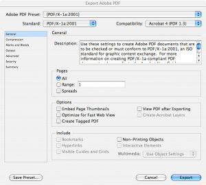 Step 2: the Export Adobe PDF window