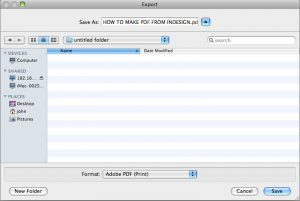 File Export to PDF from InDesign