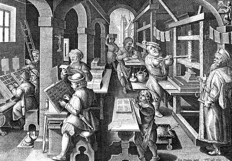 17th Century Printing Shop at http://blog.imagesmith.com/2012/02/13/color-sense/colorprinting17thcentury/