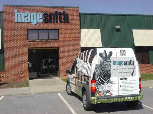 The Imagesmith van wrapped in removalbe vinyl