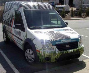 Vinyl wrapped ImageSmith zebra van