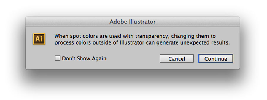 spot color warning from Illustrator