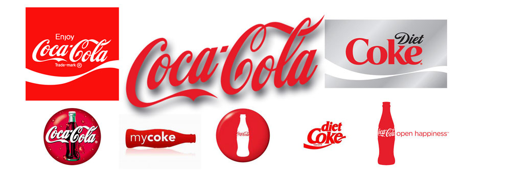 Various versions of the Coca-Cola logo