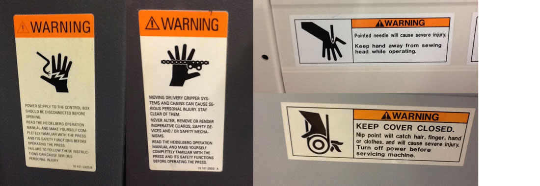 Workplace warning stickers