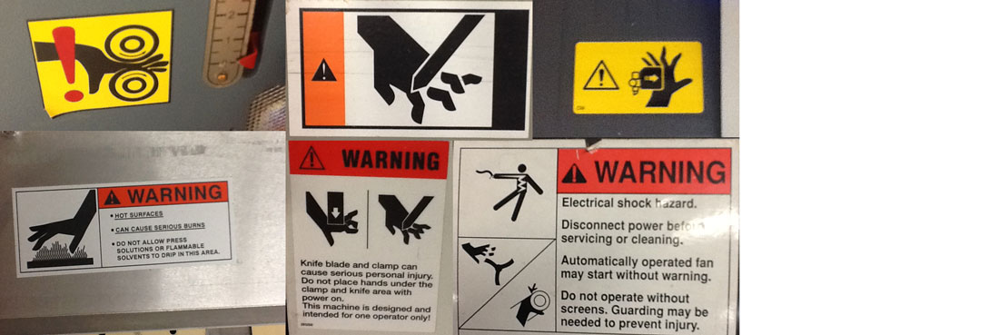 Warning stickers in the workplace