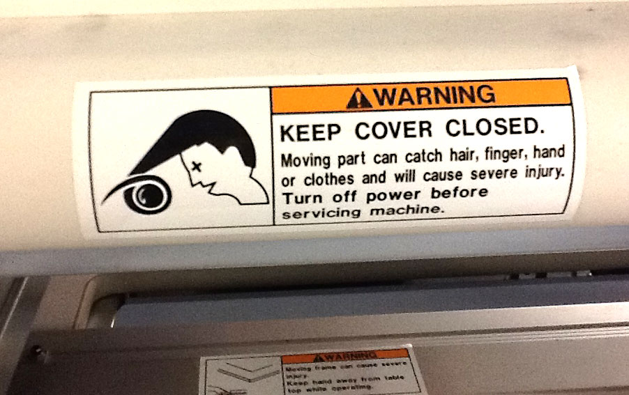 Warning Sticker Hair Caught in Machine