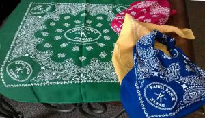 Color assortment of custom printed bandanas