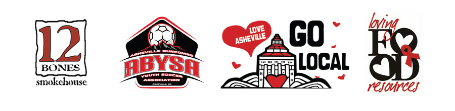 local Asheville logos in red and black