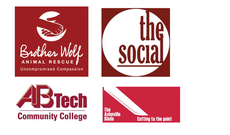 local Asheville logos in Burgundy
