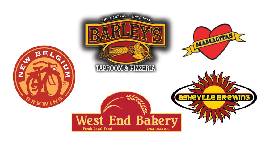 Local asheville logos in red and orange or yellow