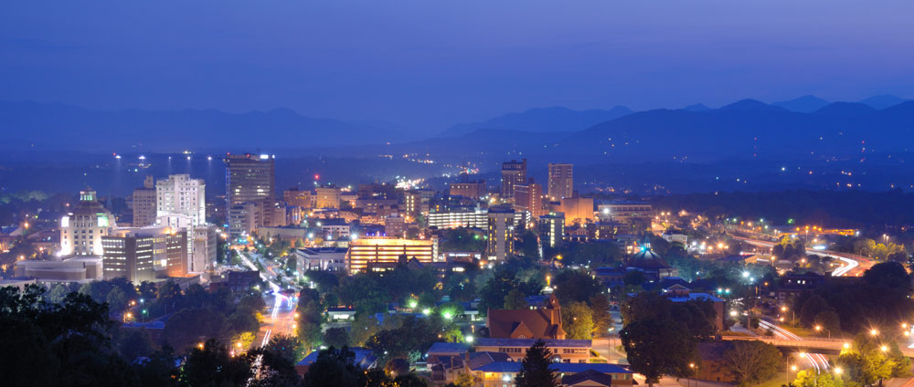Aerial view of Asheville NC at night