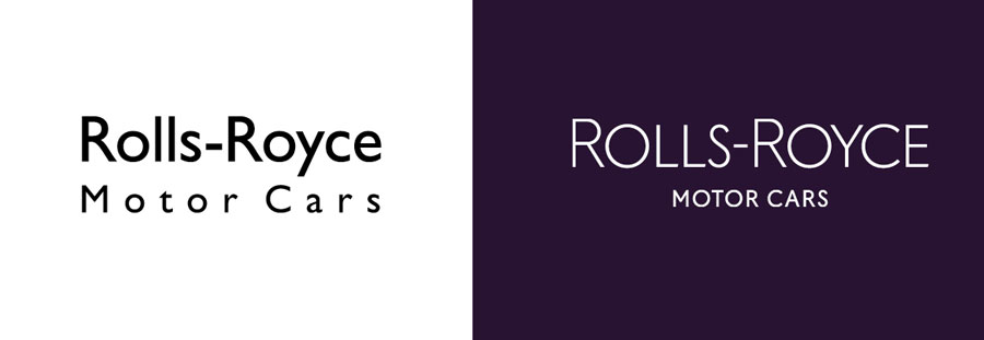 Rools Royce wordmark before and after